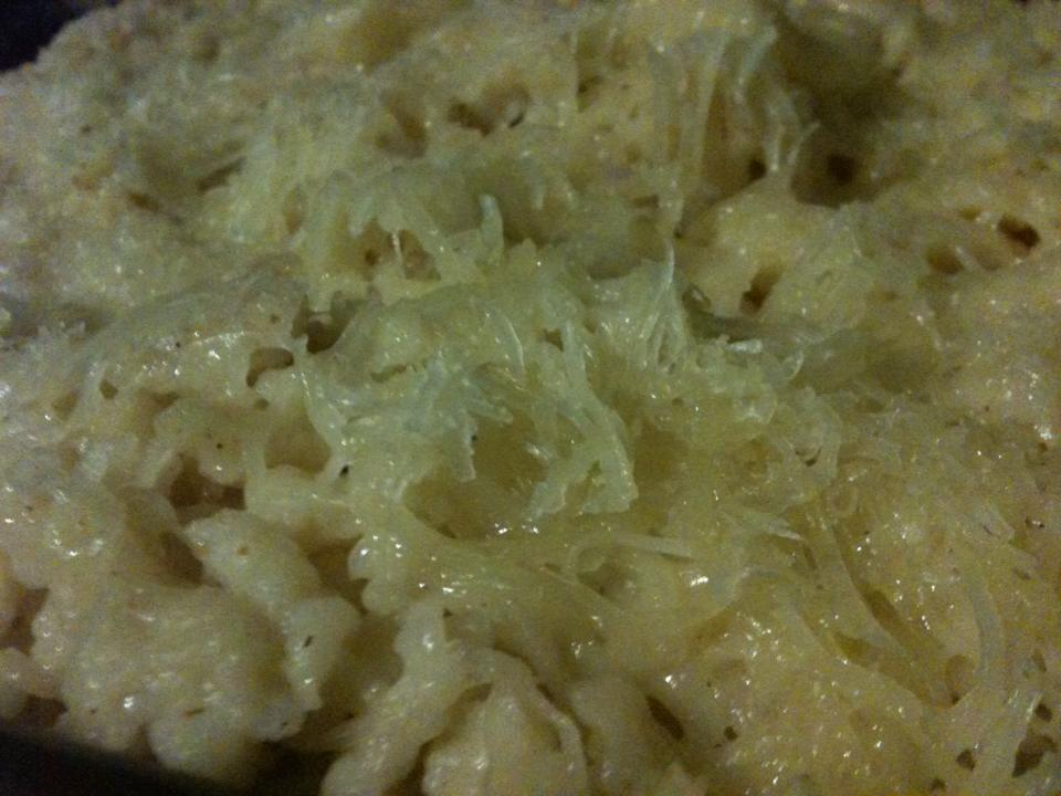 A casserloe made of Spaetzle Casserole with Sautéed Onions, Gruyère and a pinch of Nutmeg